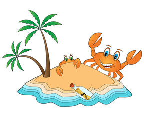 Funny Crabs on the island - vector illustration