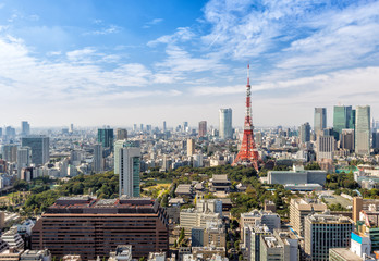 View of tokyo city skyline in clear sky day