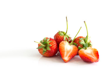 Pile of fresh Strawberry isolated on white background