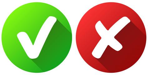 Grüner Haken und rotes Kreuz Button