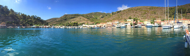 Italy, Elba Island. Panoramic view of little village