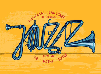 Wall Mural - jazz trumpet print - jazz word made of trumpet - colorful t-shirt print.