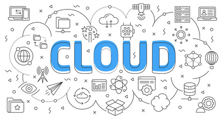 Linear flat illustration for presentations white background cloud