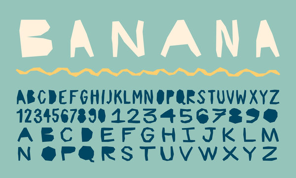 vintage handmade type for tropical or surfing prints