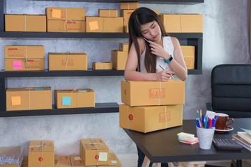 woman working sell online in her home