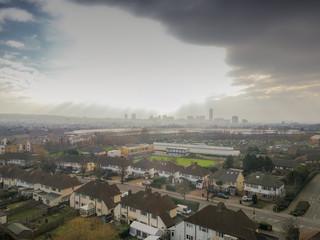 Dark skies over South London aerial view