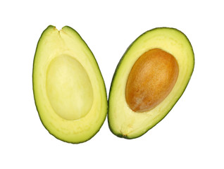 Two halves of avocado isolated on white