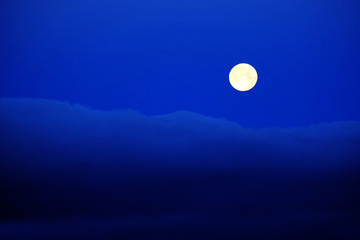 Full Moon Clouds Blue Night Sky