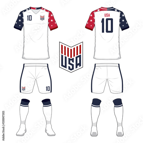 70a89f3f6 Set of soccer jersey or football kit template for United States of America  national football team. Front and back view soccer uniform. Sport shirt  mock up.