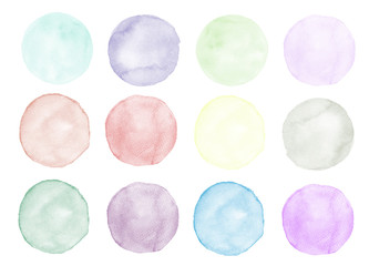 Colorful round watercolor stains