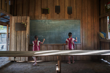 Students in classroom;Tribal students in rural Thailand.