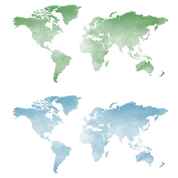 World map in watercolor texture