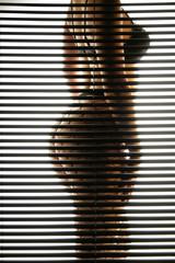 Frau in Unterwäsche hinter Jalousie