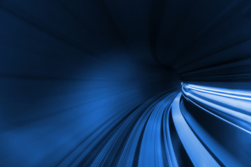 Acrylic Prints Tunnel Speed blurred motion of train or subway train moving inside tunnel.