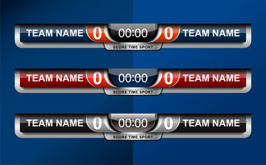 Scoreboard Broadcast Graphic Template for soccer and football, vector illustration