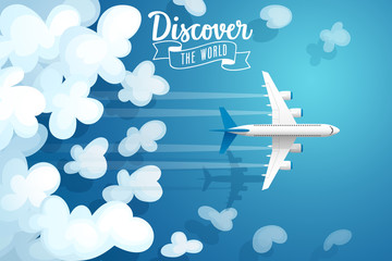 Wall Mural - Passenger plane flying above clouds, travel poster.