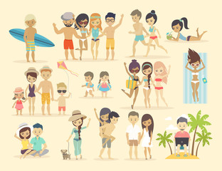 Wall Mural - People on the beach.