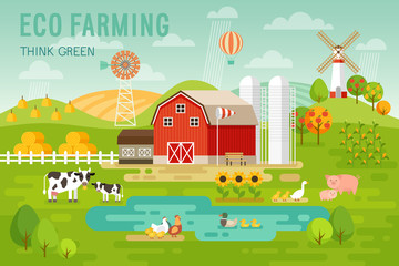 Wall Mural - Eco Farming concept with house and farm animals.