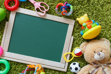Baby chalkboard. Frame with a copy space. View from above