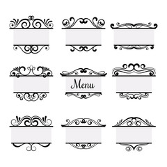 Wall Mural - Art deco menu labels isolated on white background. Vintage vector elements