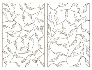 Set contour illustrations of stained glass with branches and leaves