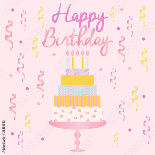 Happy Birthday Card Template With Cake Candles Ribbons And