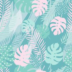 Tropical summer seamless pattern with  palm leaves. Vector illustration.