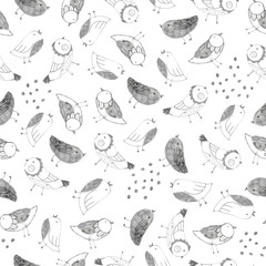 Spring birds hand drawn seamless vector pattern. Pencil drawn texture