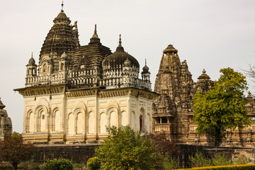 View of Parvati Temple and Vishvanath Temple, Khajuraho Group of Monuments, India