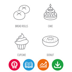 Cupcake, cake and bread rolls icons. Sweet donut linear sign. Award medal, growth chart and opened book web icons. Download arrow. Vector