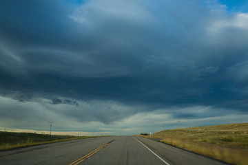Stormy sky over road