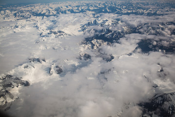 Aerial view of snowcapped mountain ranges