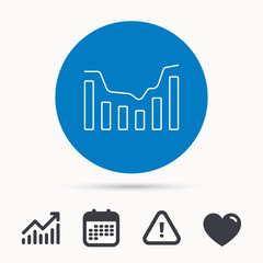 Dynamics icon. Statistic chart sign. Growth infochart symbol. Calendar, attention sign and growth chart. Button with web icon. Vector