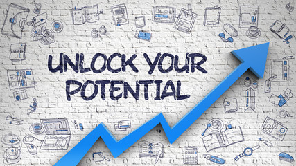 Unlock Your Potential Drawn on Brick Wall.