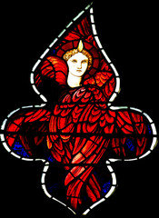 Fototapete - Angel with wings and flame in stained glass