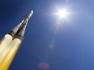 3d render rocket flies into space