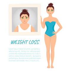 Fit woman holding her picture before weight loss. Perfect body symbol. Successful diet and sport concept. Perfect for fitness gyms and health magazines. Vector illustration.