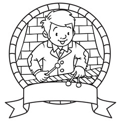 Funny musician or xylophone player. Emblem