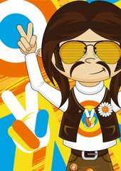 Cute Cartoon Sixties Hippie