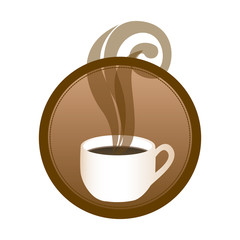 circular emblem with hot cup of coffee vector illustration