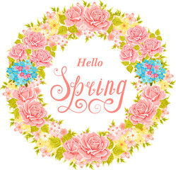 Hello spring lettering. Vector flower wreath. Floral Frame.