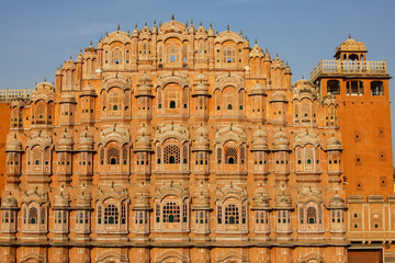 Front view of the famous Palace of Winds or Hawa Mahal, Jaipur, India