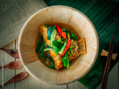 Vintage style traditional thai food fried white snapper for Antique thai cuisine
