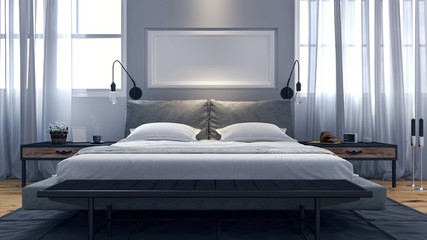 Modern design of  bedroom 3d Render