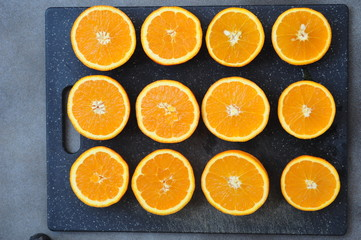 Orange slides on dark tray