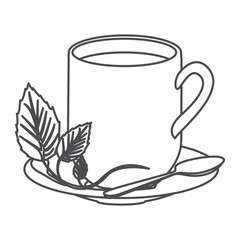 grayscale contour of hot mug of tea vector illustration