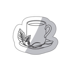 grayscale contour sticker of hot mug of tea vector illustration
