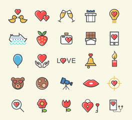 Set of 25 Minimalistic Solid Line Coloured Valentine's Day Icons . Isolated Vector Elements