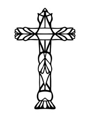 religious Christian vector design of Easter and Good Friday symbol of ornate hand drawn cross with symmetrical pattern