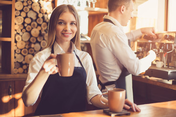 Concept for professional barista in coffee shop